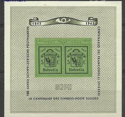 Znaczek Szwajcaria 1943 Mi bl 10 Z podlepką *