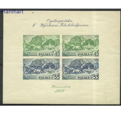 Znaczek Polska 1938 Mi bl 5B Fi bl 5A Z podlepką *