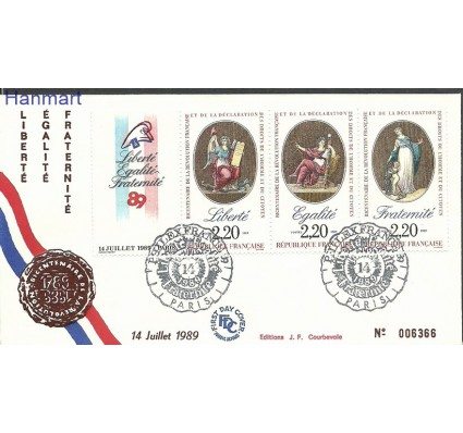 Francja 1989 Mi drezf2708+2715+2720 FDC