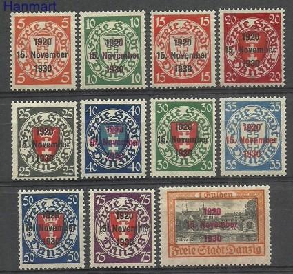 Znaczek Wolne Miasto Gdańsk 1930 Mi 220-230 Z podlepką *