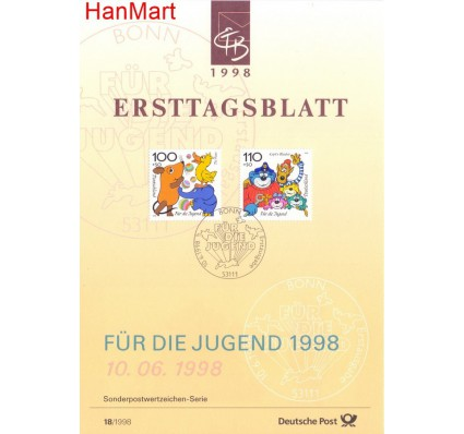 Znaczek Niemcy 1998 Pierwszy dzień wydania