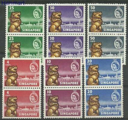 Znaczek Singapur 1959 Mi par43-48 Czyste **