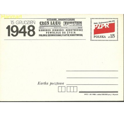 Znaczek Polska 1988 Fi Cp 990 Całostka pocztowa