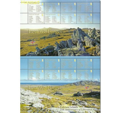 Znaczek Falklandy 2007 Mi ark990-1005 Czyste **