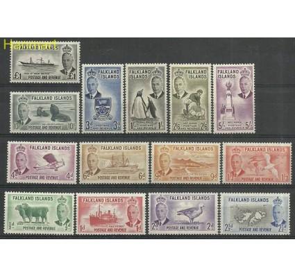 Znaczek Falklandy 1952 Mi 102-115 Z podlepką *