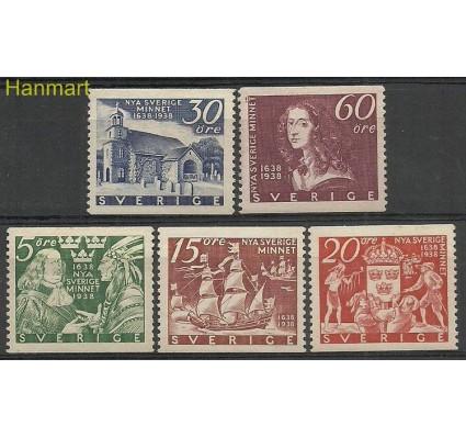 Znaczek Szwecja 1938 Mi 245-249A Z podlepką *