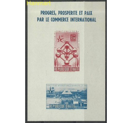 Znaczek Haiti 1958 Mi bl7 Z podlepką *