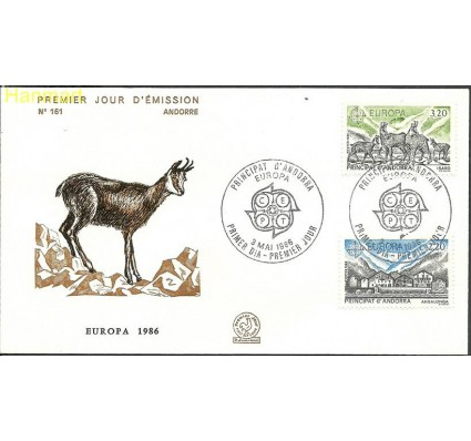 Znaczek Andora Francuska 1986 Mi 369-370 FDC