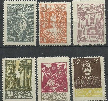 Znaczek Litwa Środkowa 1920 Mi 14-19 Fi 14-19B Czyste **