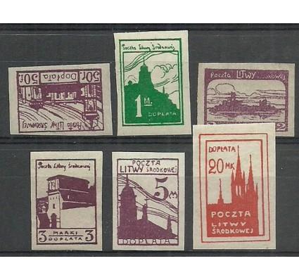 Znaczek Litwa Środkowa 1921 Mi por 1-6B Fi por 1-6A Z podlepką *
