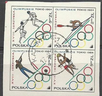 Znaczek Polska 1964 Mi 1522-1525 Fi 1374-1377 Stemplowane