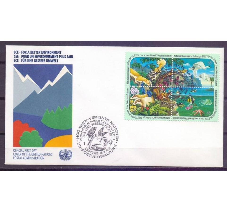 Narody Zjednoczone Wiedeń 1991 Mi 110-113 FDC
