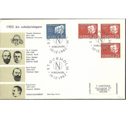 Znaczek Szwecja 1962 Mi adr500-501A FDC