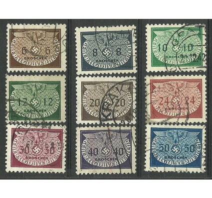 Znaczek Generalna Gubernia / GG 1940 Mi die 16-24 Fi U 16-24 Stemplowane