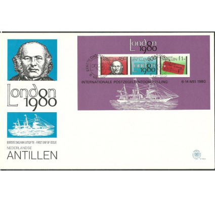 Znaczek Antyle Holenderskie 1980 Mi bl 13 FDC