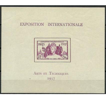 Znaczek Indie Francuskie 1937 Mi bl 1 Z podlepką *
