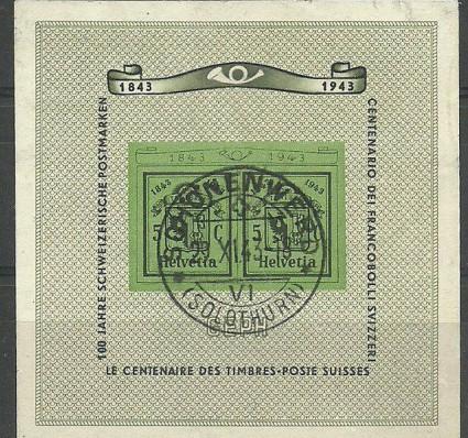 Znaczek Szwajcaria 1943 Mi bl 10 Stemplowane