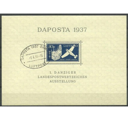 Znaczek Wolne Miasto Gdańsk 1937 Mi bl 2 Stemplowane