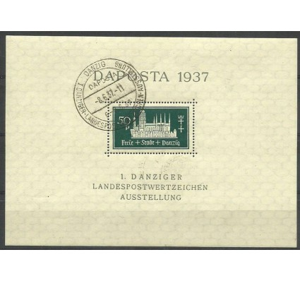 Znaczek Wolne Miasto Gdańsk 1937 Mi bl 1 Stemplowane