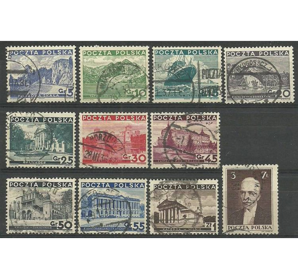 Polska 1935 Mi 301-311 Fi 280-290 Stemplowane