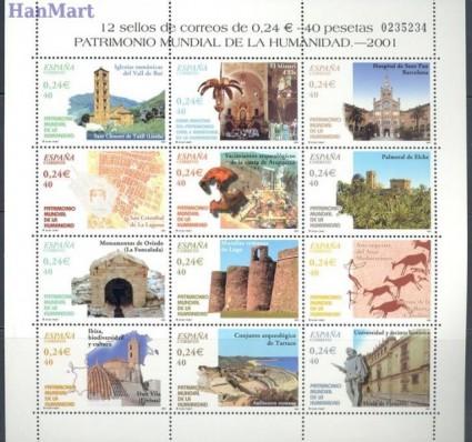 Znaczek Hiszpania 2001 Mi ark 3678-3689 Czyste **