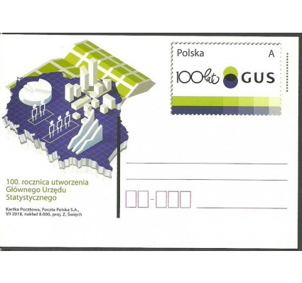 Znaczek Polska 2018 Fi Cp 1820 Całostka pocztowa