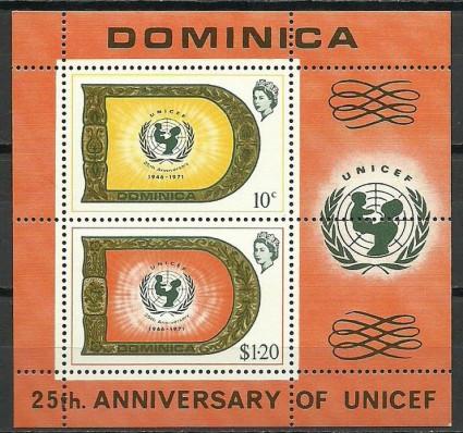 Znaczek Dominika 1971 Mi bl 9 Czyste **