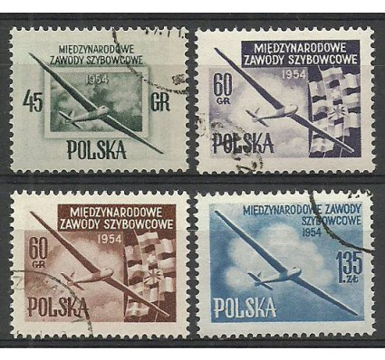 Znaczek Polska 1954 Mi 851-852C+853A+854aA Fi 712-713a,b-714 Stemplowane