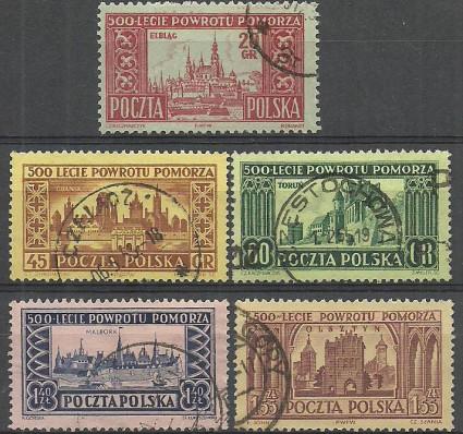 Znaczek Polska 1954 Mi 872C+873-876A Fi 732a-733-736 Stemplowane