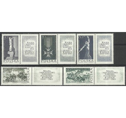 Znaczek Polska 1964 Mi zf 1533-1537 Fi zf 1384-1388 Czyste **