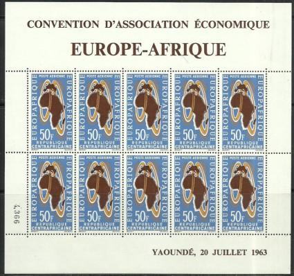 Znaczek Republika Środkowoafrykańska 1963 Mi ark 46 Czyste **