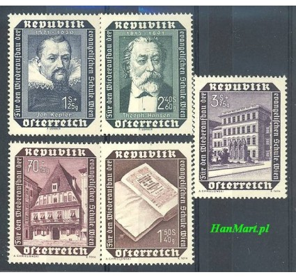 Znaczek Austria 1953 Mi 989-993 Czyste **