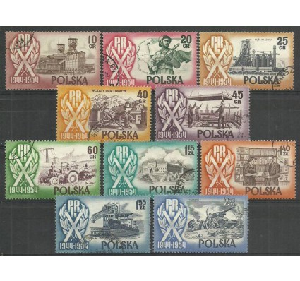 Znaczek Polska 1954 Mi 889-896 Fi 747-756+749II+752II Stemplowane