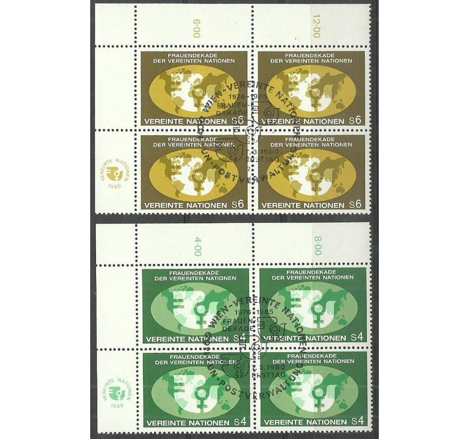 Narody Zjednoczone Wiedeń 1980 Mi 9-10 Stemplowane
