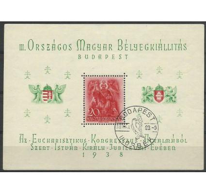 Znaczek Węgry 1938 Mi bl 2 Stemplowane