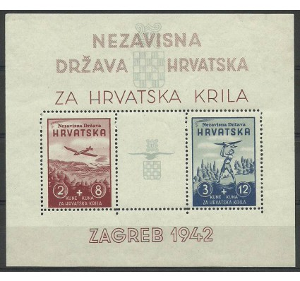 Znaczek Chorwacja 1942 Mi bl 2 Z podlepką *