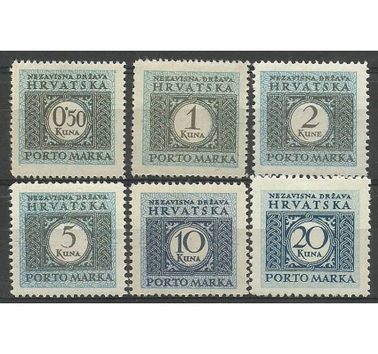 Znaczek Chorwacja 1942 Mi por 11-15A+16B Z podlepką *