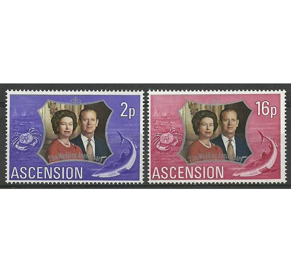 Wyspa Wniebowstąpienia 1972 Mi 164-165 Czyste **