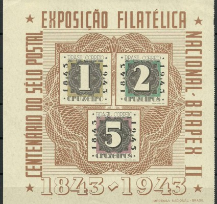 Znaczek Brazylia 1943 Mi bl 7 Z podlepką *