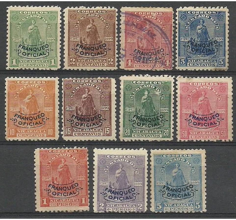 Nikaragua 1899 Mi die 96-106 Z podlepką *