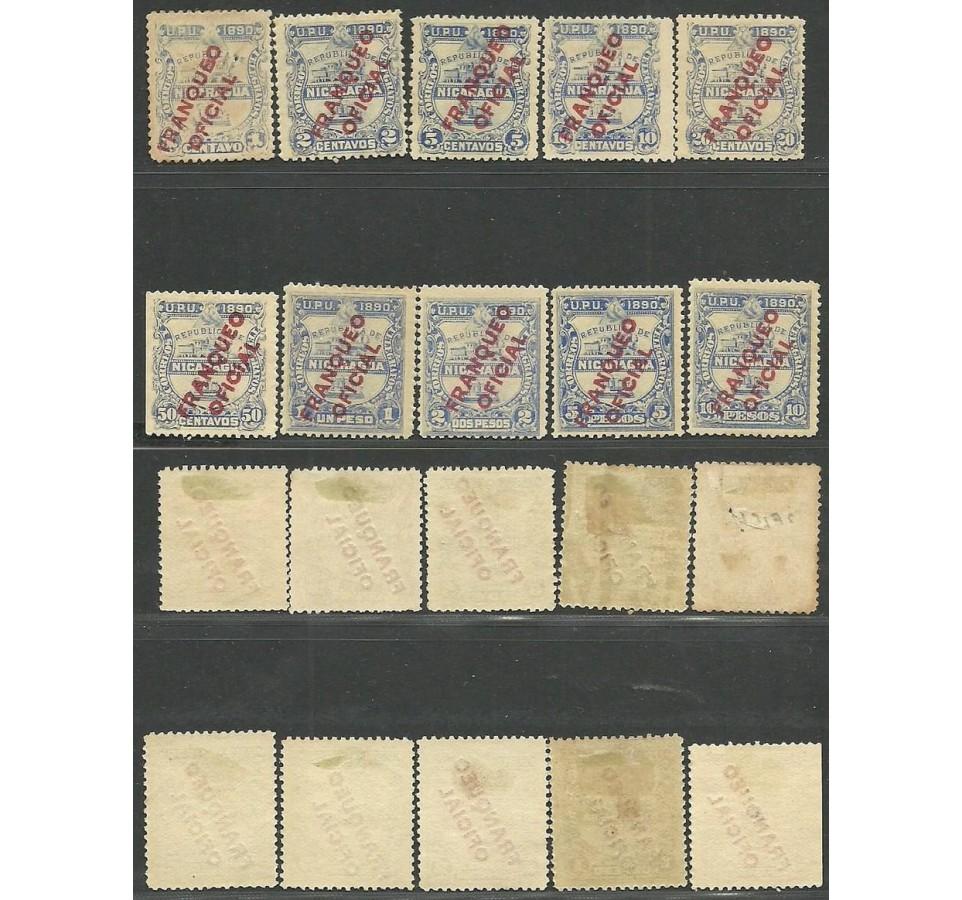 Nikaragua 1890 Mi die 1-10 Z podlepką *