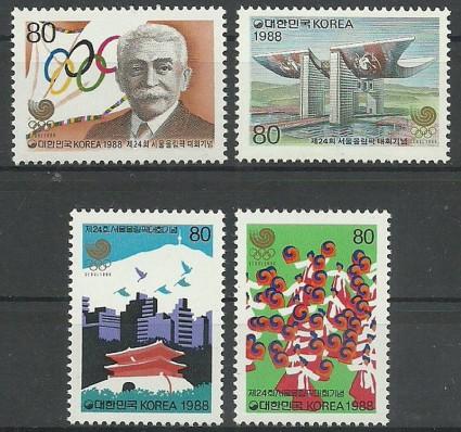 Znaczek Korea Południowa 1988 Mi 1567-1570 Czyste **