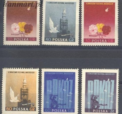 Znaczek Polska 1955 Mi 922-927A Fi 778-783B Czyste **