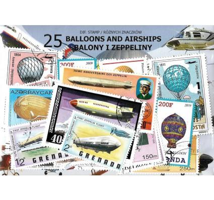 Pakiet filatelistyczny BALONY I ZEPPELINY 25 znaczkow