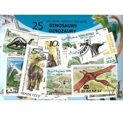 Pakiet filatelistyczny DINOZAURY 25 znaczkow