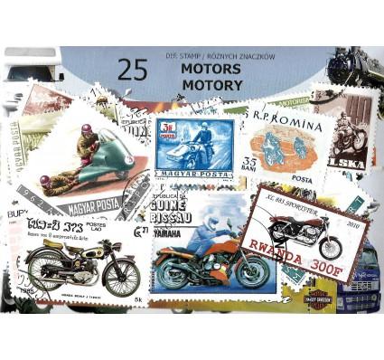 Pakiet filatelistyczny MOTORY 25 znaczkow