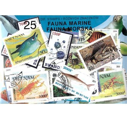 Pakiet filatelistyczny FAUNA MORSKA 25 znaczkow