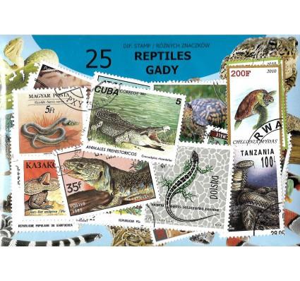 Pakiet filatelistyczny GADY 25 znaczkow