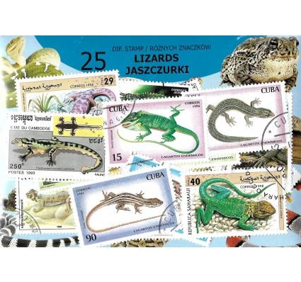 Pakiet filatelistyczny JASZCZURKI 25 znaczkow