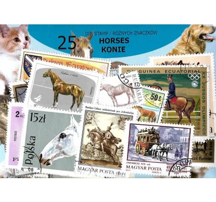 Pakiet filatelistyczny KONIE 25 znaczkow